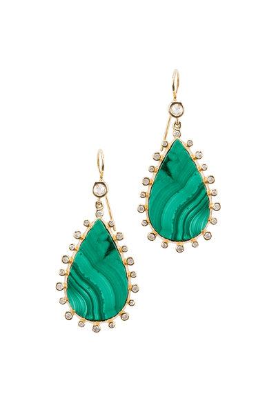 Nam Cho - Yellow Gold Malachite Diamond Dangle Earrings