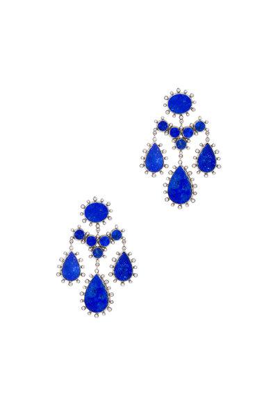 Nam Cho - White Gold Pom Pom Lapis Diamond Earrings