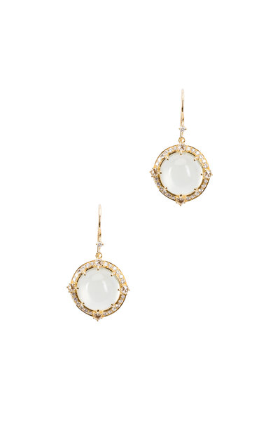 Nam Cho - Yellow Gold Green Moonstone Diamond Drop Earrings