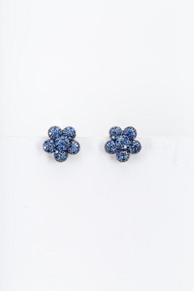 Nam Cho - White Gold Blue Sapphire Flower Earrings
