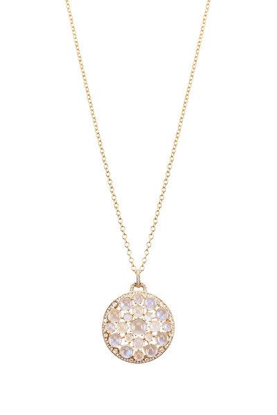 Nam Cho - Yellow Gold Ceylon Blue Moonstone Diamond Necklace