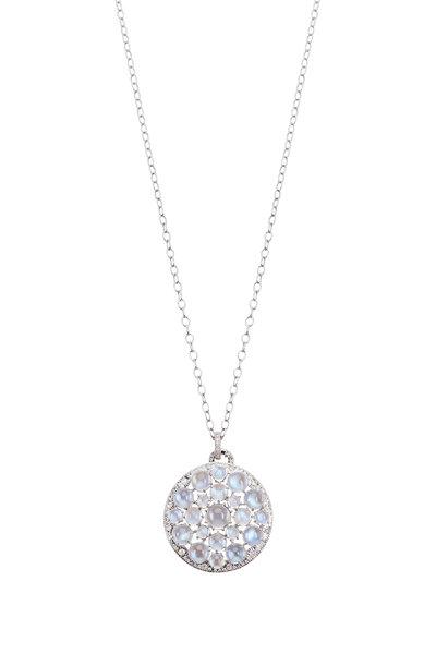 Nam Cho - White Gold Ceylon Blue Moonstone Diamond Necklace