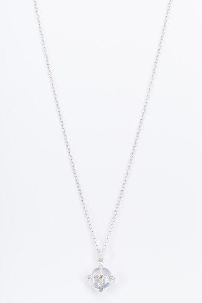 Nam Cho - White Gold White Moonstone Diamond Drop Pendant