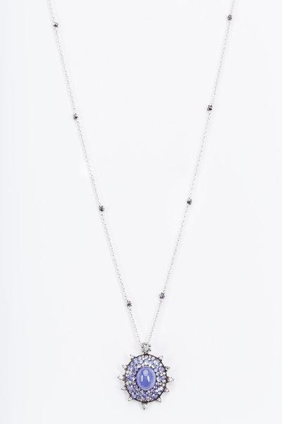 Nam Cho - White Gold Tanzanite Diamond Bullseye Necklace