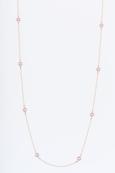 Nam Cho - Pink Gold Pink Sapphire Diamond Doughnut Necklace