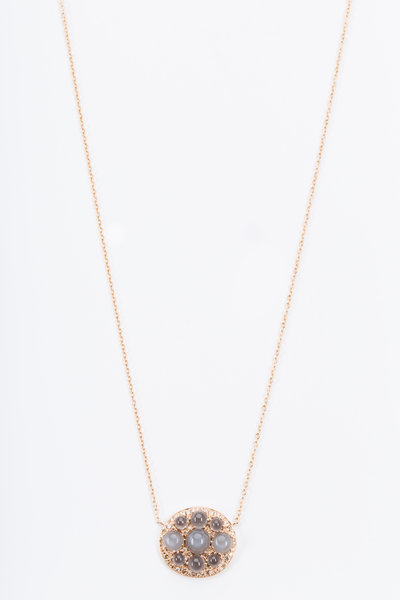 Nam Cho - Pink Gold Moonstone Champagne Diamond Necklace