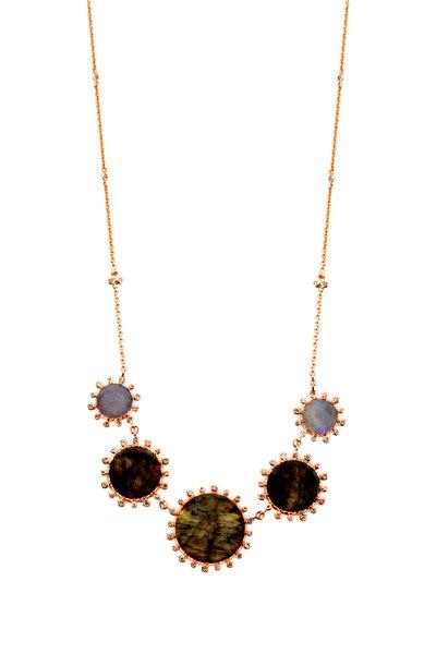 Nam Cho - Pink Gold Labradorite Champagne Diamond Necklace
