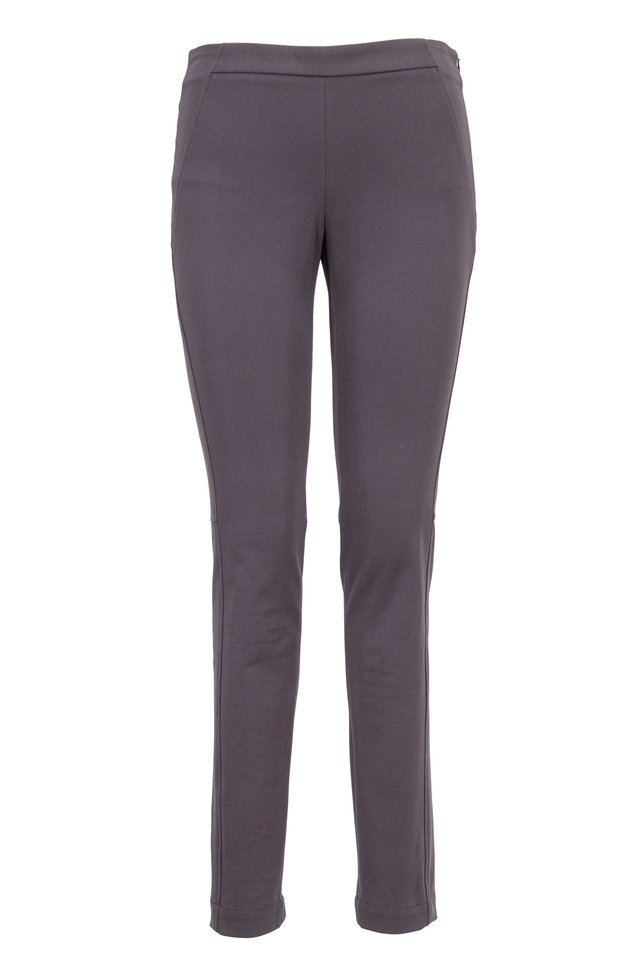Graphite Stretch Cotton Side Zip Slim Fit Pants