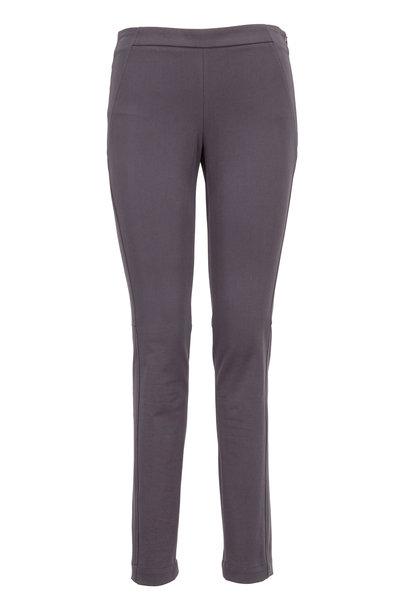Brunello Cucinelli - Graphite Stretch Cotton Side Zip Slim Fit Pants