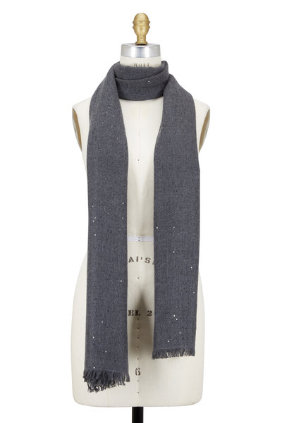 Brunello Cucinelli - Charcoal Gray Cashmere & Silk Tonal Paillet Scarf
