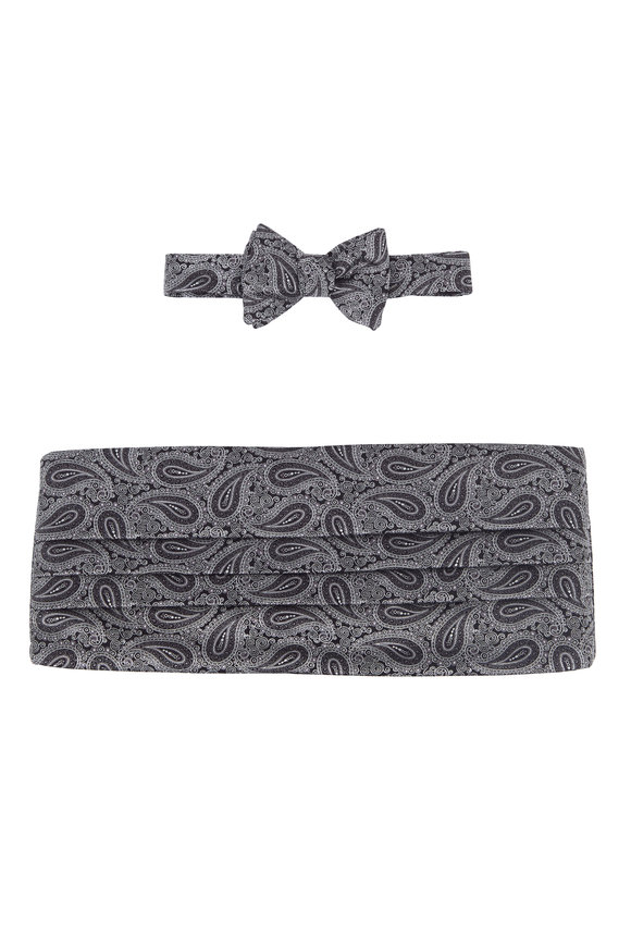 Carrot & Gibbs Black & White Paisley Pre-Tied Cummerbund Set