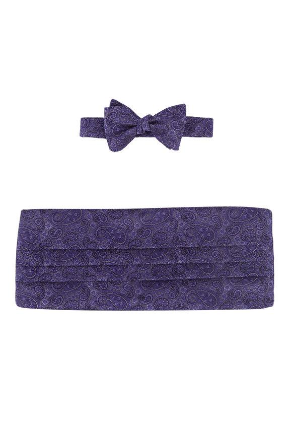 Carrot & Gibbs Purple Paisley Silk Cummerbund Set