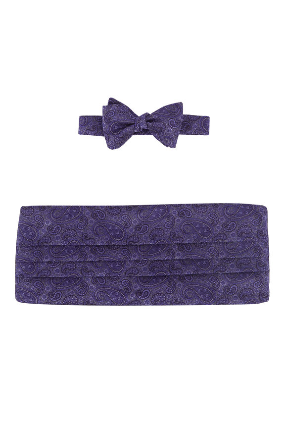 Carrot & Gibbs Purple Paisley Silk Cummerbund Set