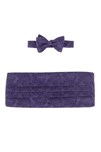 Carrot & Gibbs - Purple Paisley Silk Cummerbund Set