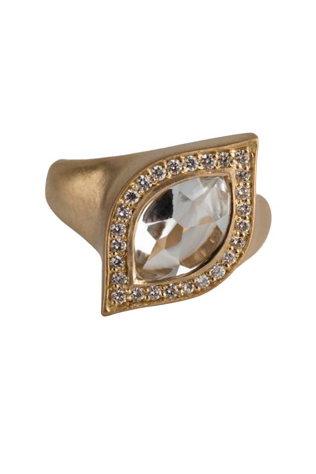 White Topaz Pavé-Set Diamond Marquise Ring