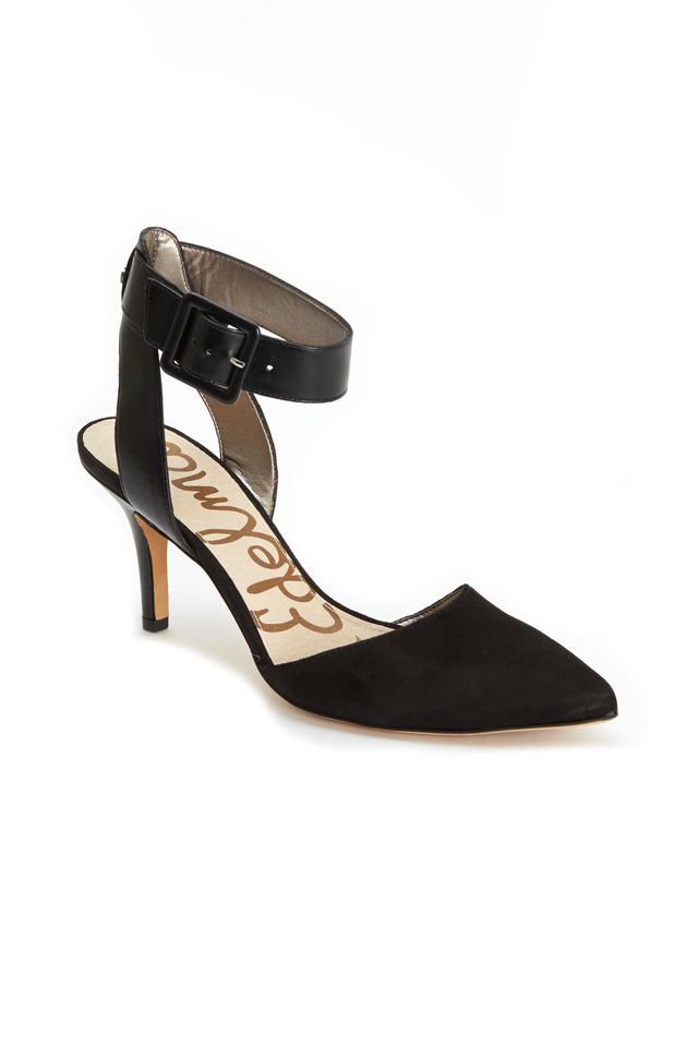 Okala Black Suede & Leather Ankle Strap Pumps