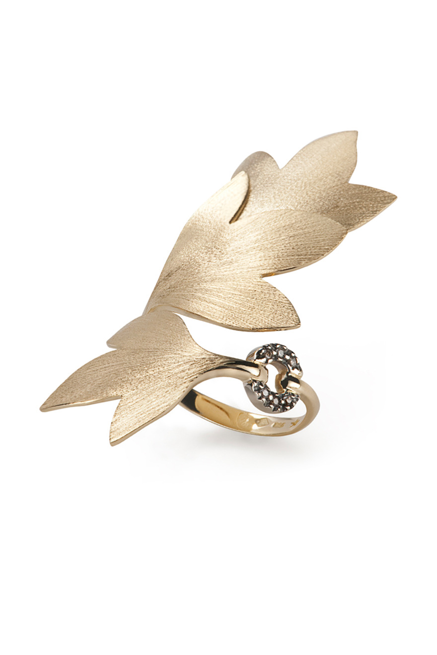 Gold Diamond Hera Leaf Ring
