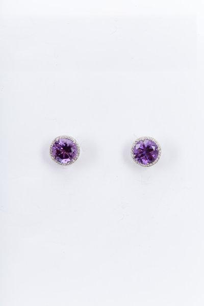 Fred Leighton - Platinum Amethyst Diamond Stud Earrings