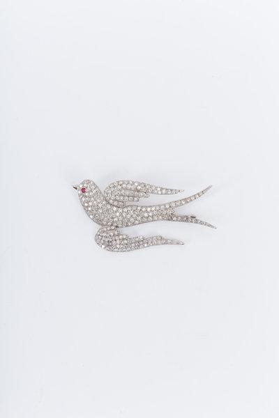 Fred Leighton - Platinum White Diamond Bird Brooch