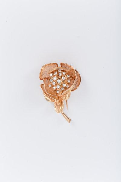 Fred Leighton - Yellow Gold White Diamond Flower Brooch