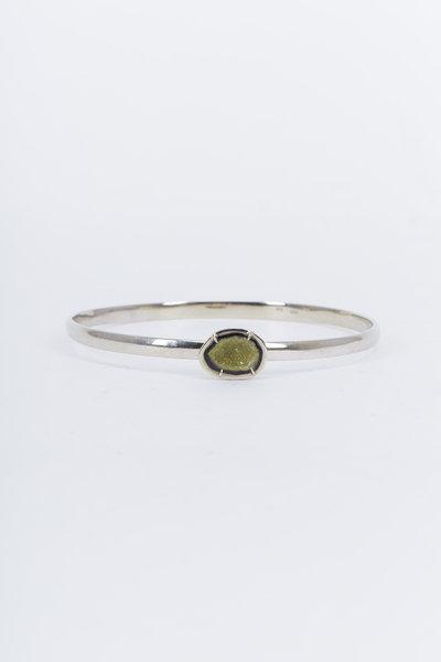 Kimberly McDonald - White Gold Geode Bangle Bracelet