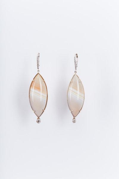Kimberly McDonald - White Gold Gray Agate Diamond Drop Earrings