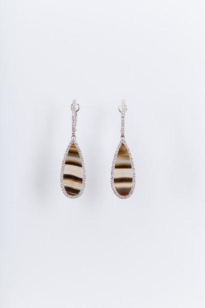 Kimberly McDonald - White Gold Piranha Agate Diamond Drop Earrings