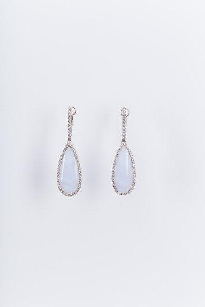 Kimberly McDonald - White Gold Blue Lace Agate Diamond Drop Earrings