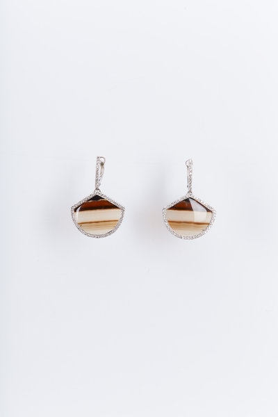 Kimberly McDonald - White Gold Piranha Agate Diamond Drop Earrings