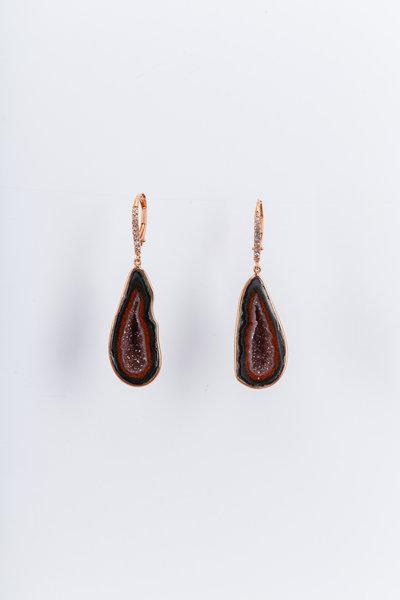 Kimberly McDonald - Rose Gold Geode White Diamond Earrings