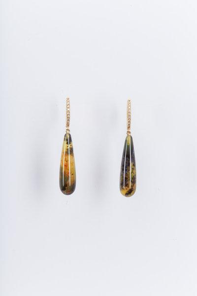 Kimberly McDonald - Yellow Gold Green Opal Diamond Hoop Earrings