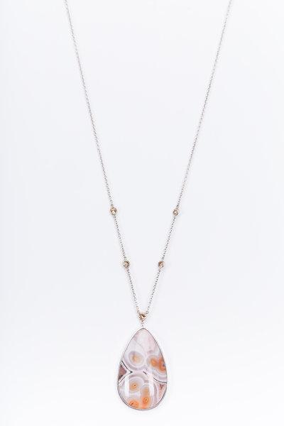 Kimberly McDonald - Gold Laguna Agate Brown Diamond Pendant Necklace