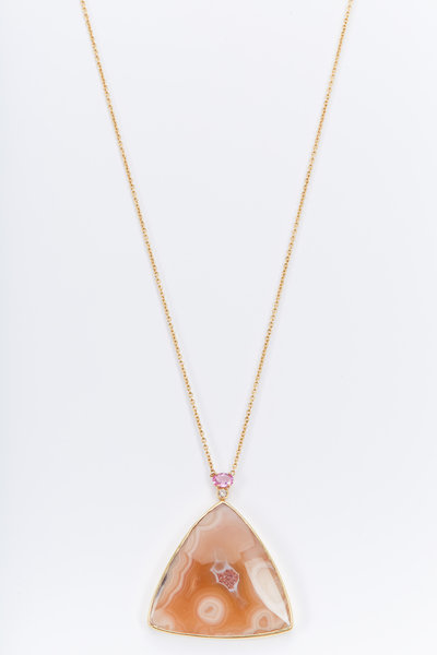 Kimberly McDonald - Gold Agate Pink Sapphire Brown Diamond Necklace