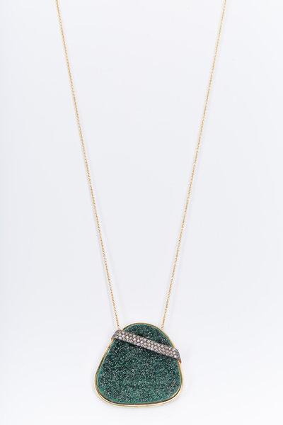 Kimberly McDonald - Gold Uvarovite Garnet Diamond Necklace