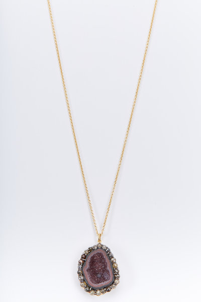Kimberly McDonald - Yellow Gold Red Geode Diamond Necklace