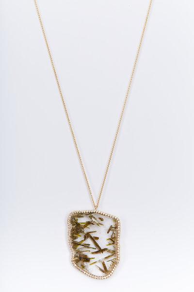 Kimberly McDonald - Yellow Gold Epidote Quartz Diamond Necklace