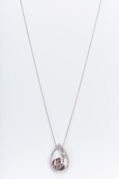 Kimberly McDonald - White Gold Phantom Quartz Diamond Necklace