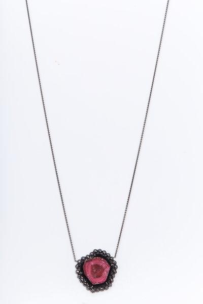 Kimberly McDonald - White Gold Tourmaline Black Diamond Necklace