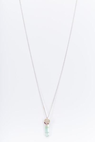 Kimberly McDonald - White Gold Watermelon Tourmaline Diamond Necklace