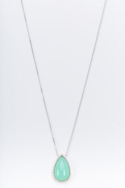 Kimberly McDonald - White Gold Chrysoprase Diamond Pendant Necklace