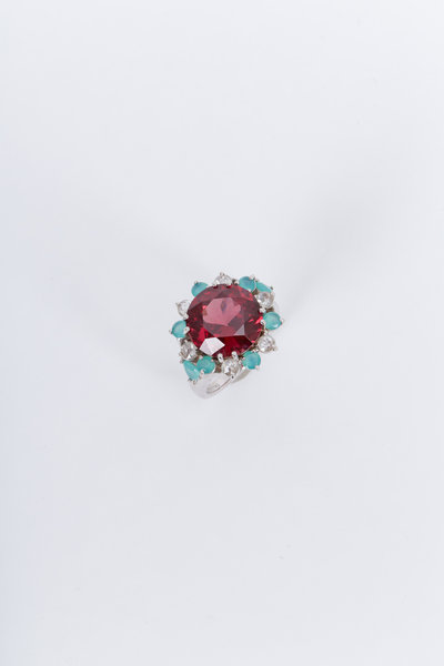 Kimberly McDonald - Gold Garnet Peruvian Opal Diamond Cocktail Ring