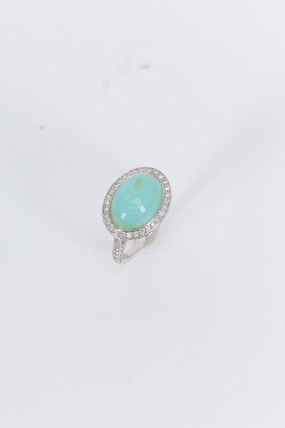 Kimberly McDonald - White Gold Peruvian Opal Diamond Cocktail Ring
