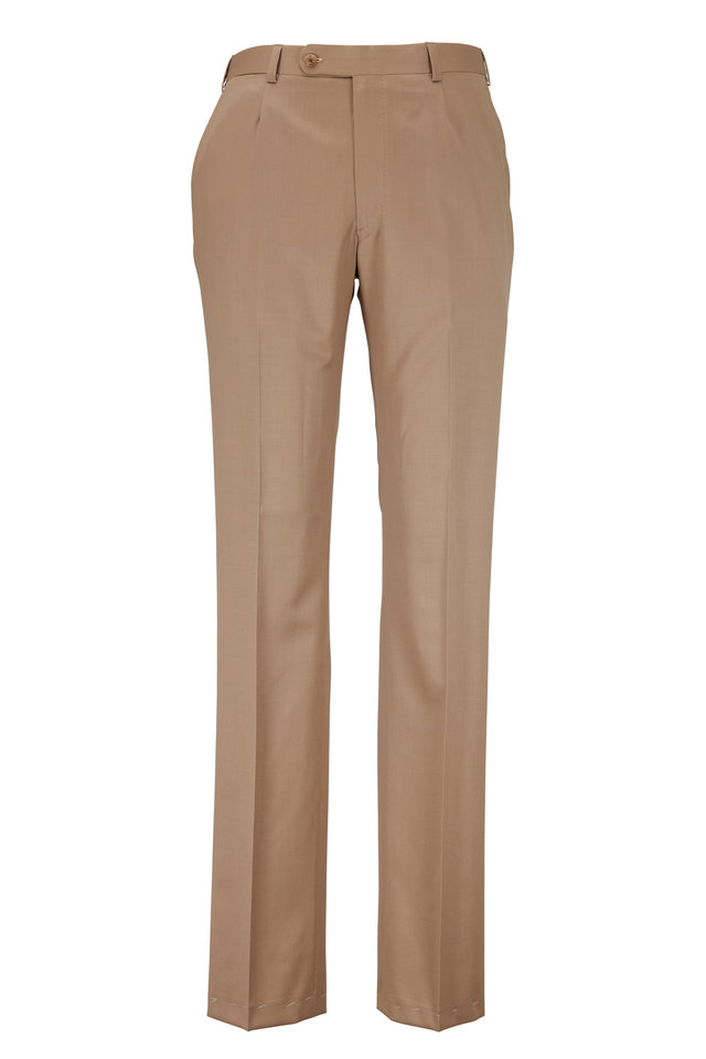 Monroe Dark Tan Wool Dress Pants