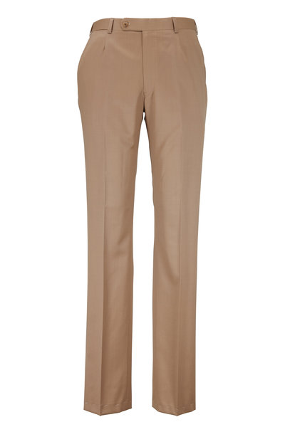 Oxxford Clothes - Monroe Dark Tan Wool Dress Pants