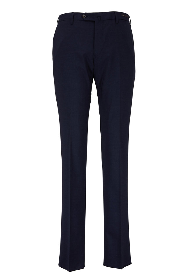 Navy Blue Wool Slim Fit Dress Pants