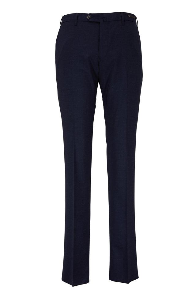 Navy Blue Wool Slim Fit Dress Pant