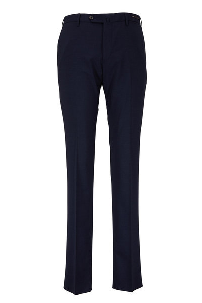 PT Pantaloni Torino - Navy Blue Wool Slim Fit Dress Pant