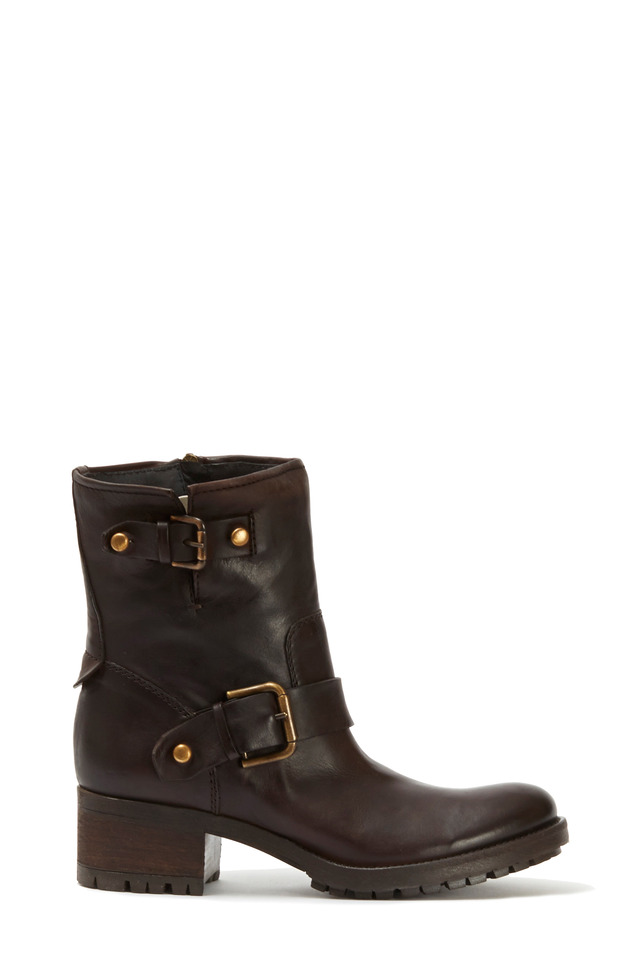 Soho Brown Leather Short Moto Boot, 50mm