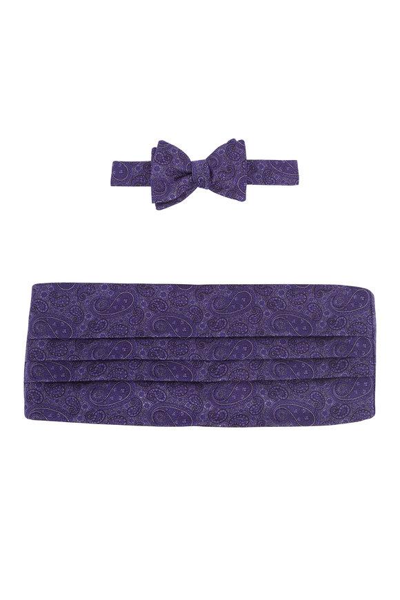 Carrot & Gibbs Purple Paisley Silk Pre-Tied Cummerbund Set