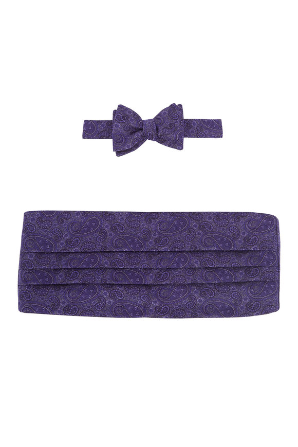Carrot & Gibbs Purple Paisley Silk Pre-Tied Cummerbund Set